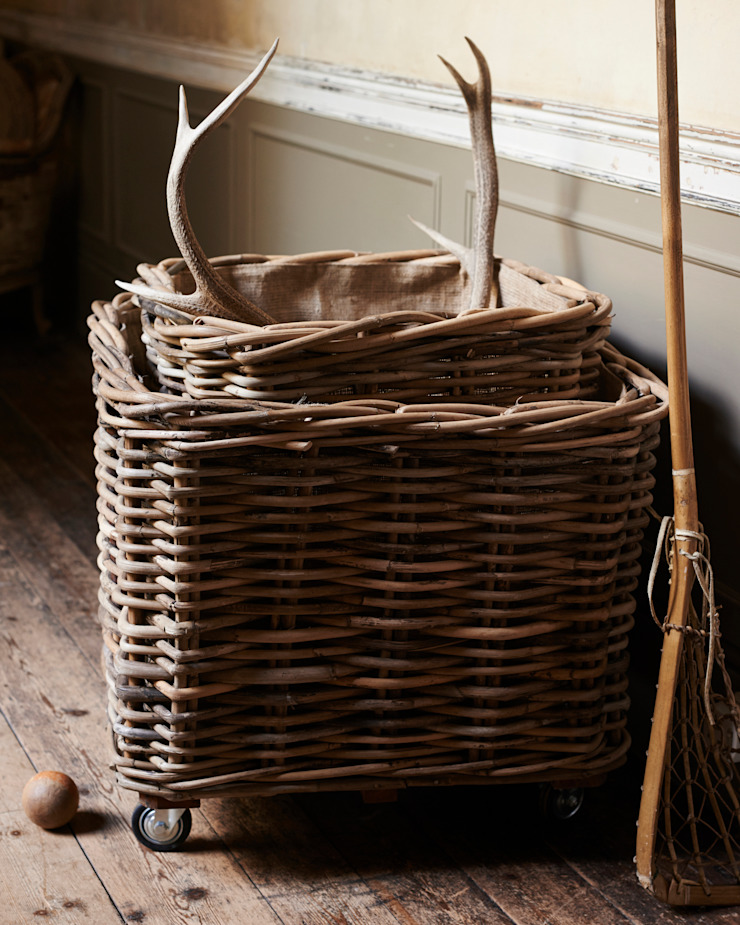 large square rattan log baskets with wheels de brush64 Rural