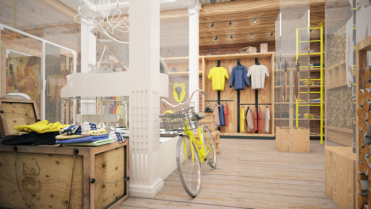 "Проект интерьера бутика ""Street style"" Офисы и магазины в стиле лофт от Александра Мовчан Лофт"