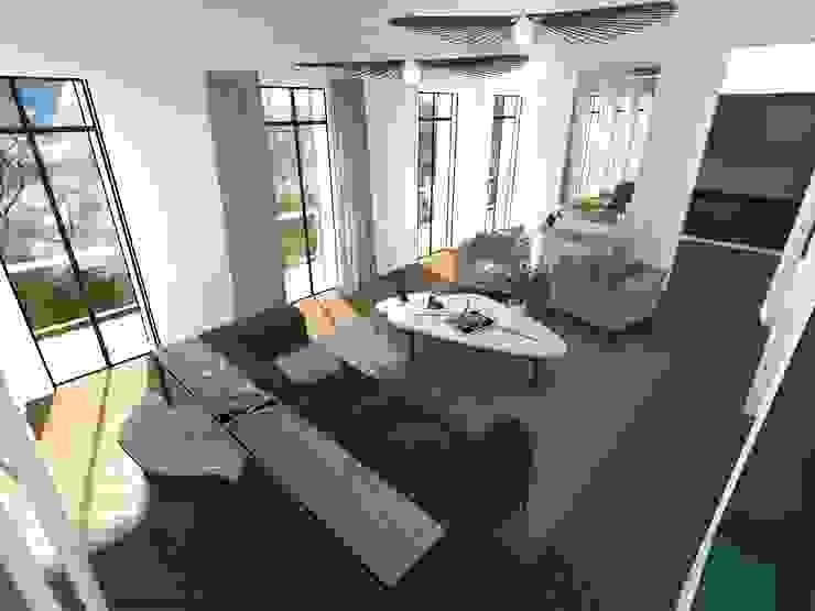 Salon haussmannien contemporain Salon moderne par A.S Garde architecte d'intérieur Moderne