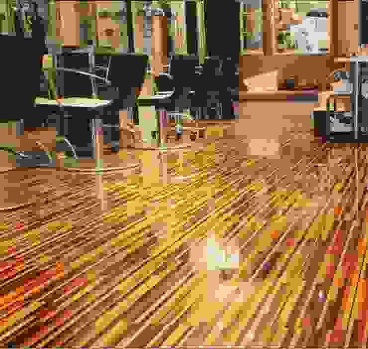 Upmarket St Johns Wood hair salon installs Designer Stripes Tropical style walls & floors by Floorless Floors Ltd Tropical