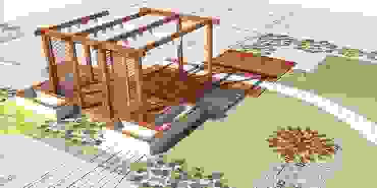 projekt tarasu z pergolą od Autorska Pracownia Architektury Krajobrazu Jardin Nowoczesny