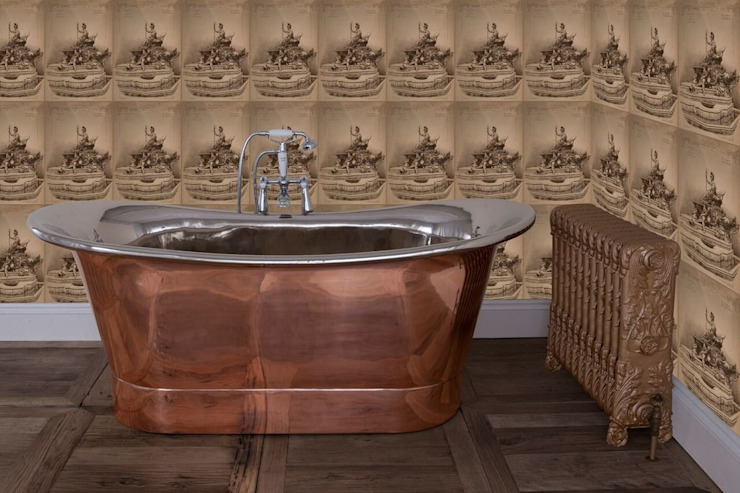Normandy Double Slipper Copper & Nickel Bath von UKAA | UK Architectural Antiques Klassisch