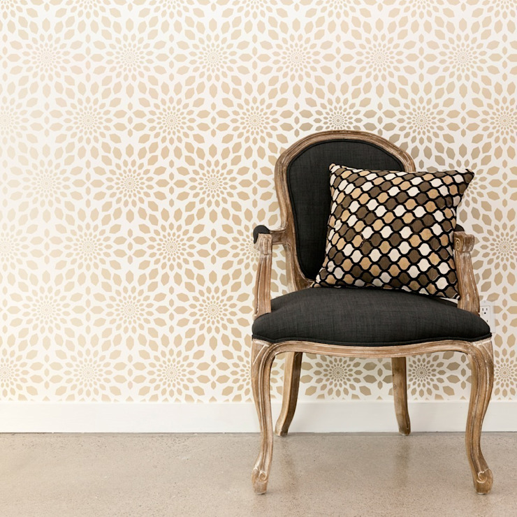 Moroccan inspired lattice wall stencils di Stencil Up Mediterraneo