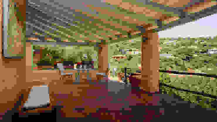 Mario Marino Rustic style balcony, veranda & terrace