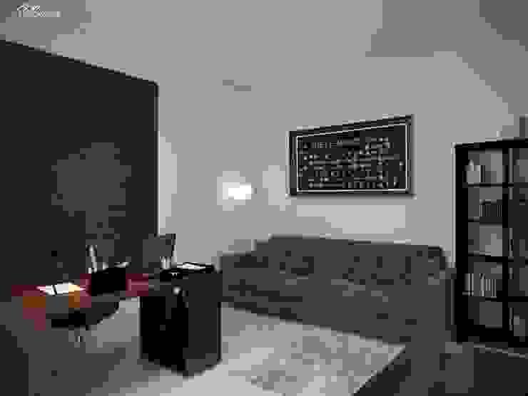 Дизайн интерьера кабинета квартиры в м-он Чистый. Рабочий кабинет в стиле модерн от Студия Поминовой Анны Модерн