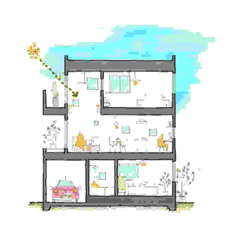 「マドワク」の家: スタジオすぅが手掛けた現代のです。,モダン