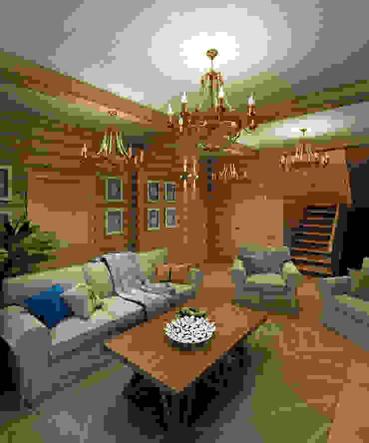 Деревянный дом в Рождественно Гостиная в скандинавском стиле от BM Architects Скандинавский