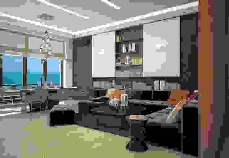 Двухуровневая квартира с видом на море Гостиная в стиле минимализм от Azari Architects Минимализм