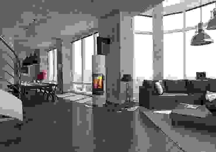 Industrial style living room by Chiemsee Öfen Industrial