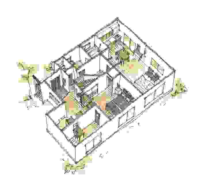 1F鳥瞰図 after: 一級建築士事務所 iie designが手掛けた素朴なです。,ラスティック