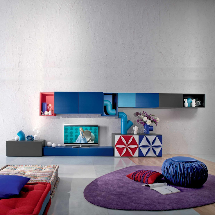 'Loto Flowers I' TV/media unit by Mobilstella di My Italian Living Moderno