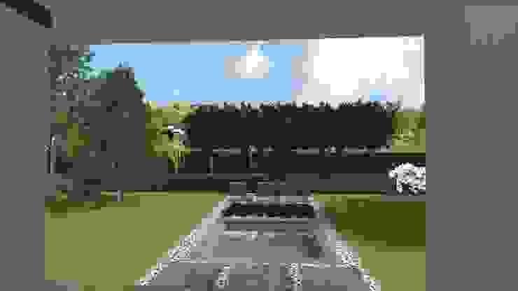 Nowoczesny ogród z betonowymi murkami na poznańskim Strzeszynie od Rock&Flower studio. Pracownia architektury krajobrazu. Nowoczesny