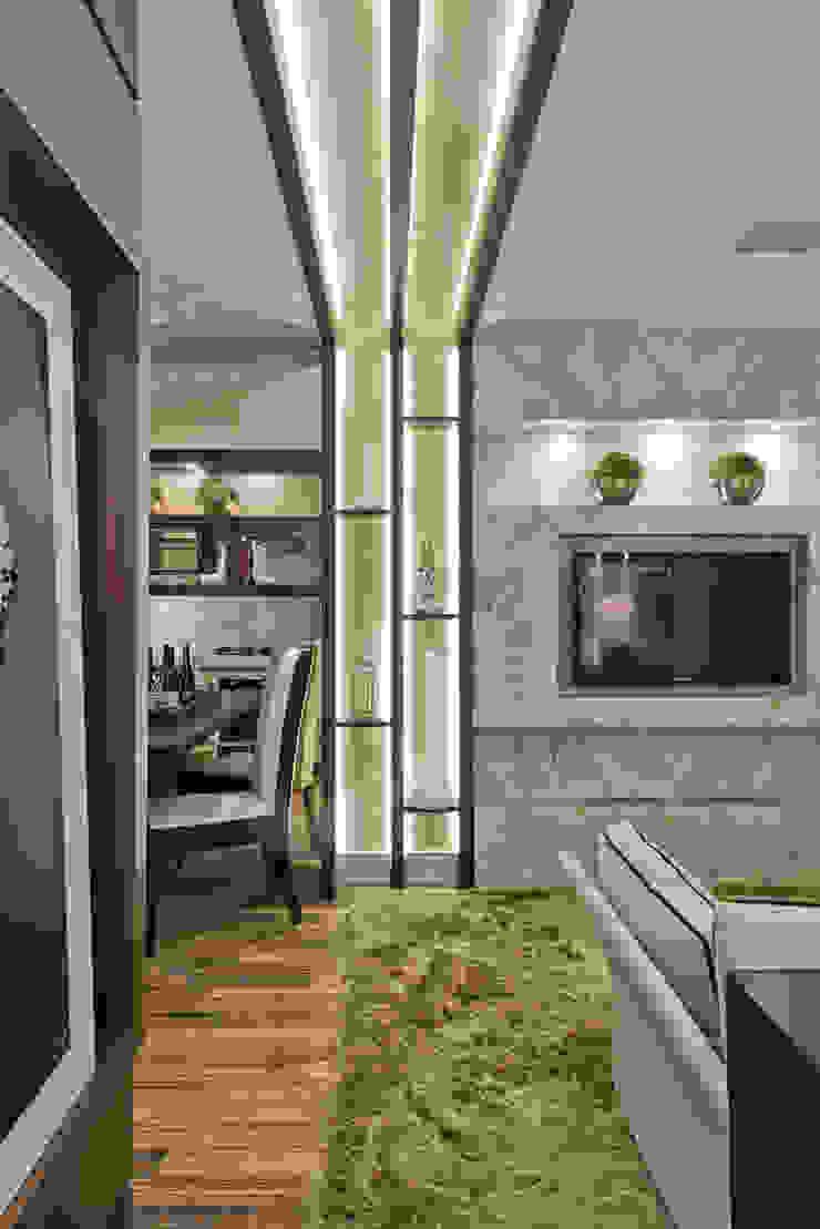 Loft de 30m² Salas de estar modernas por Riskalla & Mueller Arquitetura e Interiores Moderno