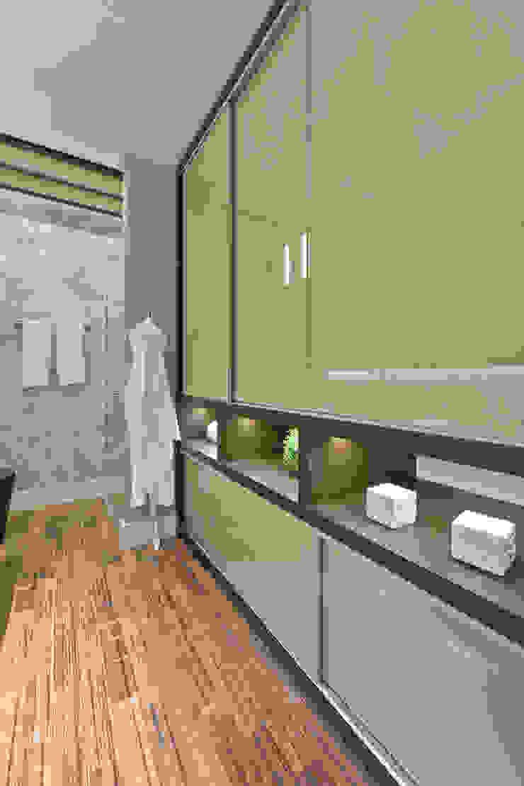 Loft de 30m² Closets por Riskalla & Mueller Arquitetura e Interiores Moderno