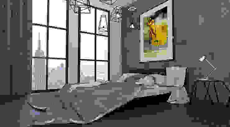 Дизайн квартиры в стиле лофт Спальня в стиле лофт от Space - студия дизайна интерьера премиум класса Лофт