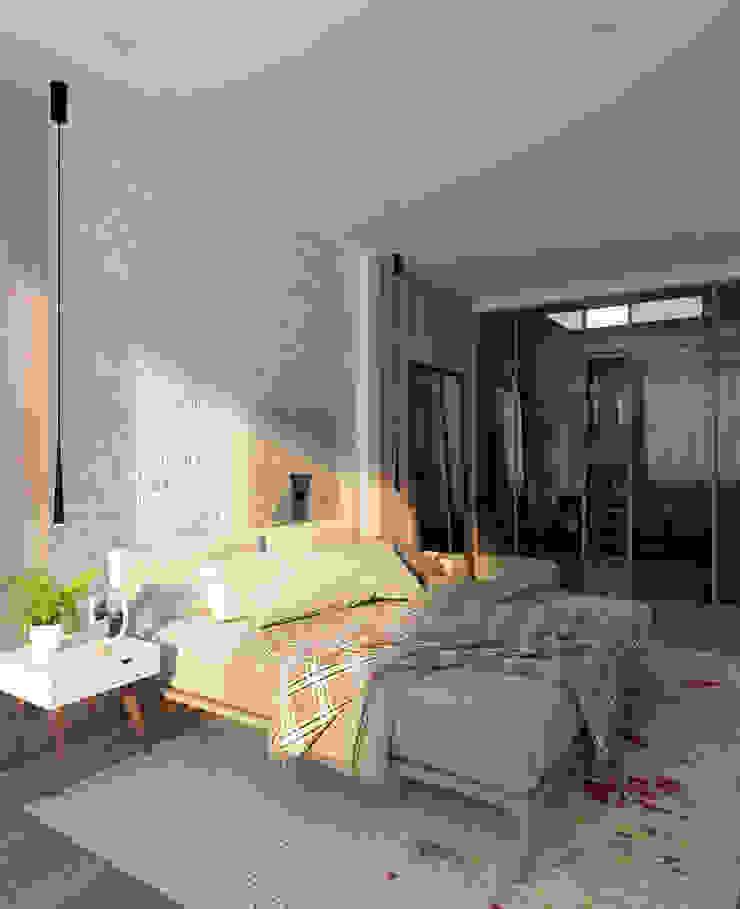 Квартира для молодой пары Спальня в скандинавском стиле от Котова Ольга Скандинавский