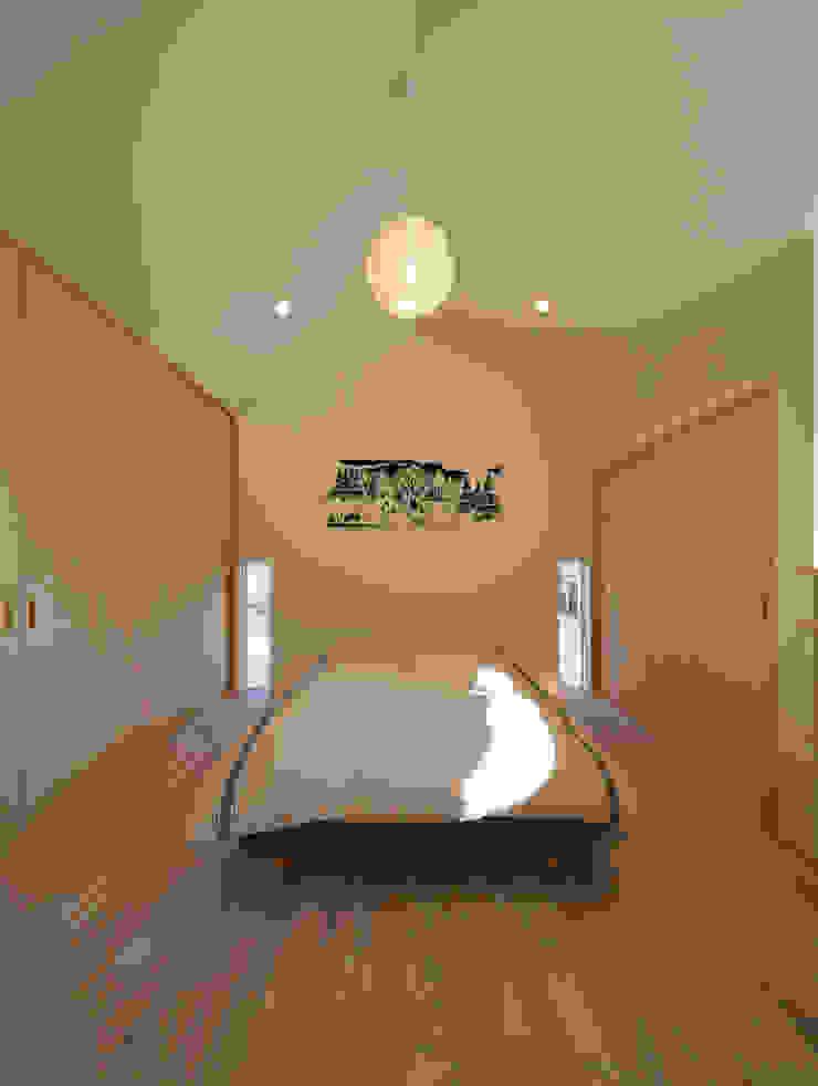 吹抜を囲むスキップフロア住宅 モダンスタイルの寝室 の 株式会社プラスディー設計室 モダン