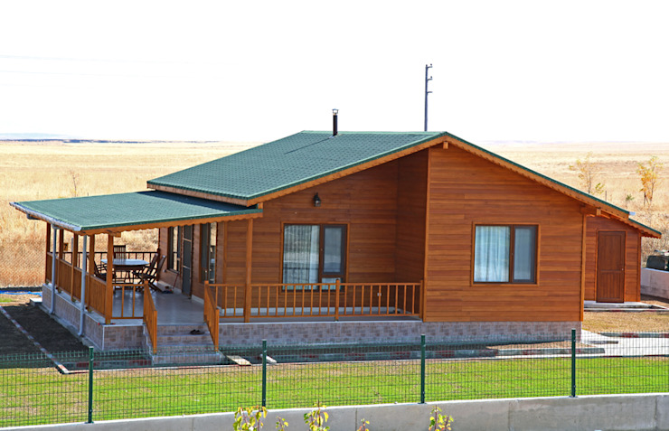 AHSB - AHŞAP EV MODEL B Modern Balkon, Veranda & Teras Kuloğlu Orman Ürünleri Modern