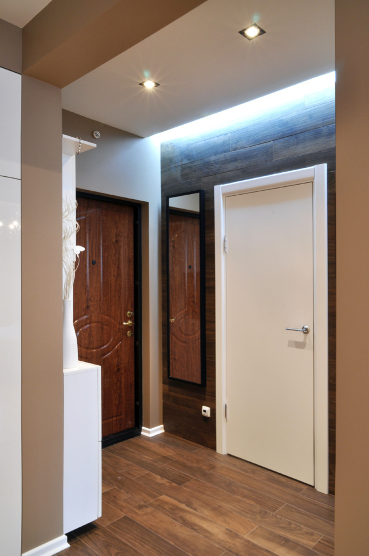 Квартира на Приморском проспекте Студия Анастасии Бархатовой Коридор, прихожая и лестница в эклектичном стиле