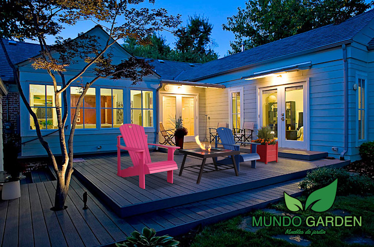 Sillones Adirondack y Mesa Malibu a BioEtanol Mundo Garden:  de estilo  por Mundo Garden,Moderno