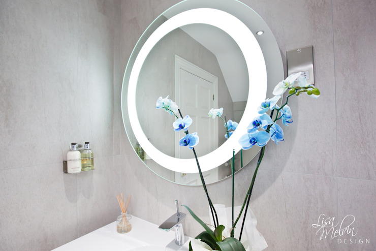 Led Halo Mirror Modern bathroom by Lisa Melvin Design Modern