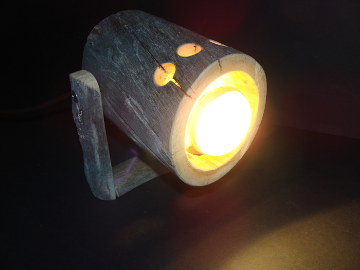 rustic spotlight from Kelo wood - woodlamp Jochens-Elch-O-Thek Living roomLighting Wood Grey