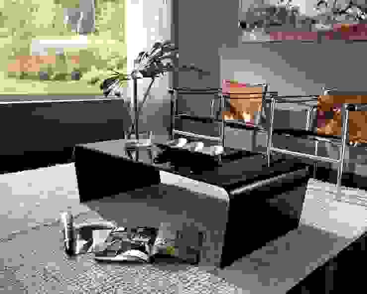 'Iris' Black or red glass coffee table by La Primavera de My Italian Living Moderno