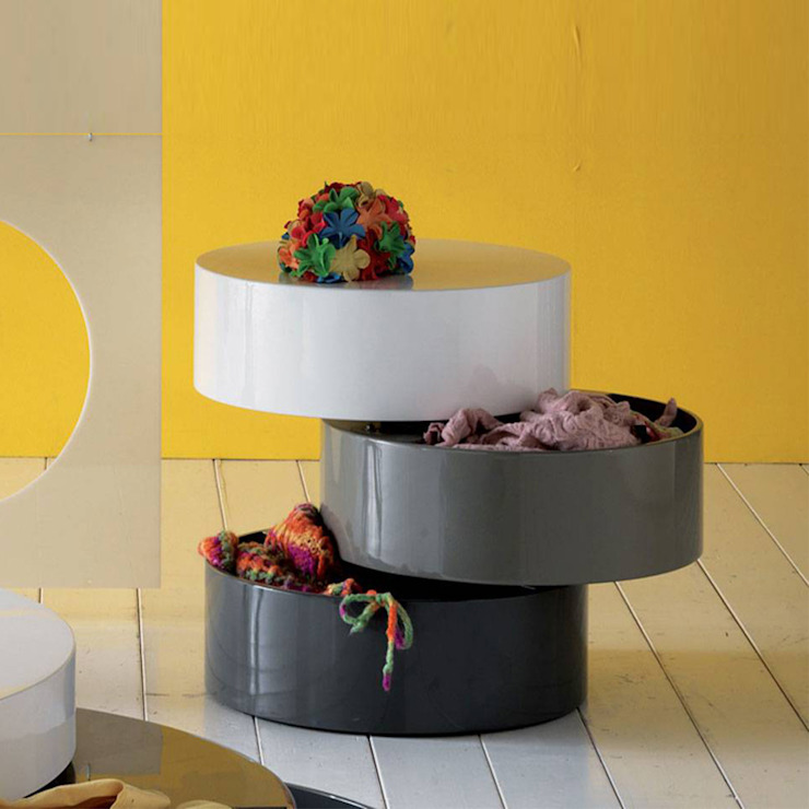'Transform I' small round storage coffee table by Stones de My Italian Living Moderno
