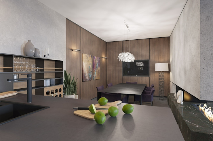 3D проект интерьера гостиной ,кухни и столовой зоны в загородном доме. Гостиная в стиле минимализм от Aleksandra Kostyuchkova Минимализм