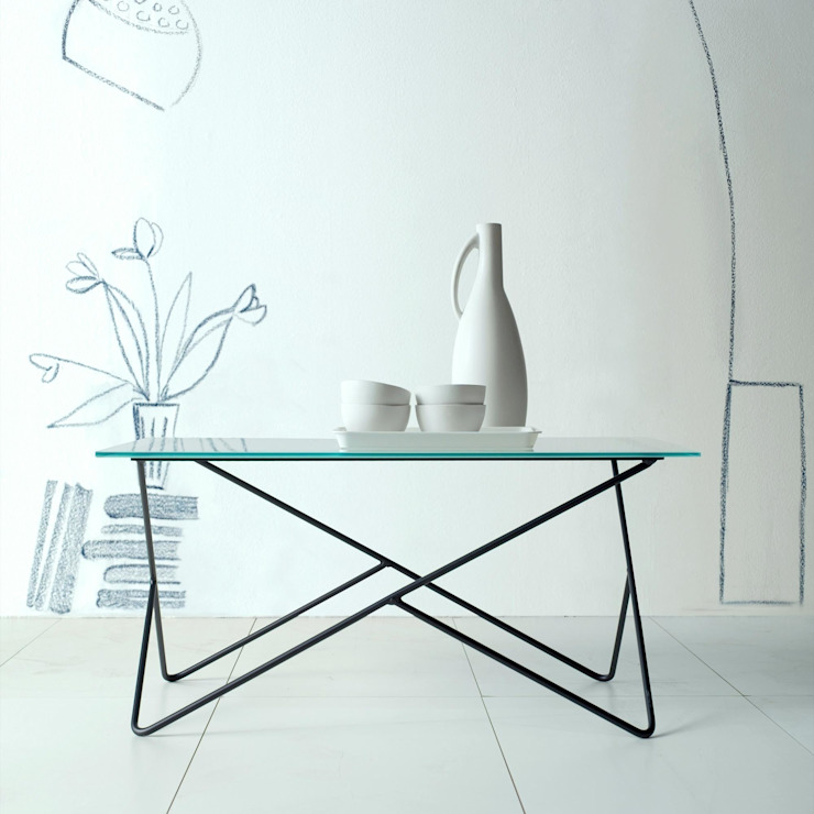'Primula' Wrought iron coffee table with glass by Cosatto de My Italian Living Moderno