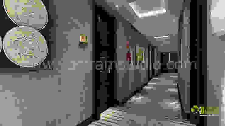 3D Rendering Hotel Lobby Modern corridor, hallway & stairs by Yantram Architectural Design Studio Modern