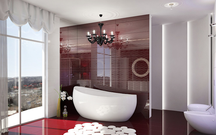 Двухуровневая квартира в Севастополе: Ванные комнаты в . Автор – Дизайн - студия Пейковых, Эклектичный