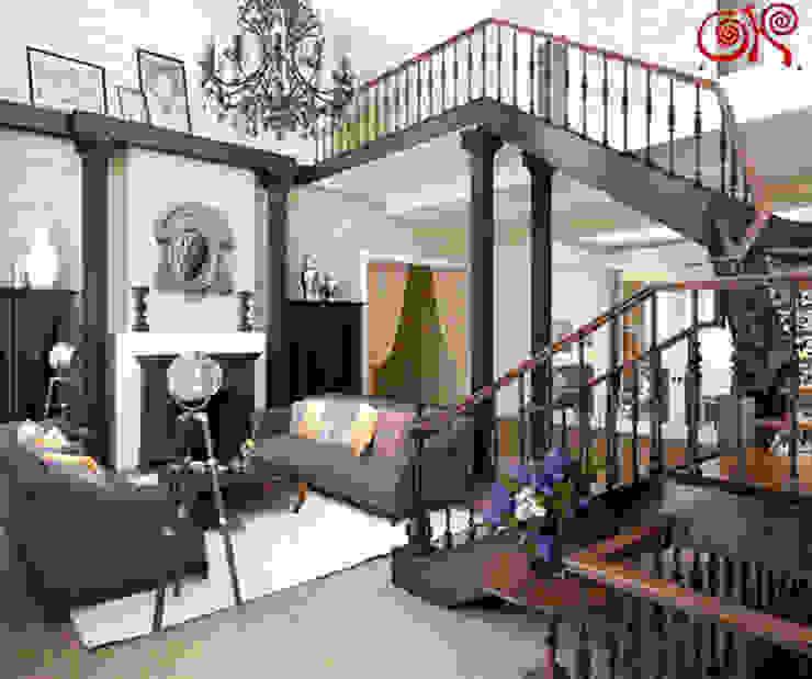 Интерьер гостиной с камином после ремонта по дизайн-проекту Гостиная в классическом стиле от Дизайн студия Ольги Кондратовой Классический