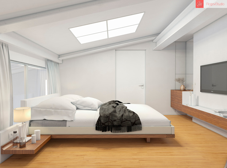 2+1 Спальня в стиле минимализм от RogovStudio Минимализм