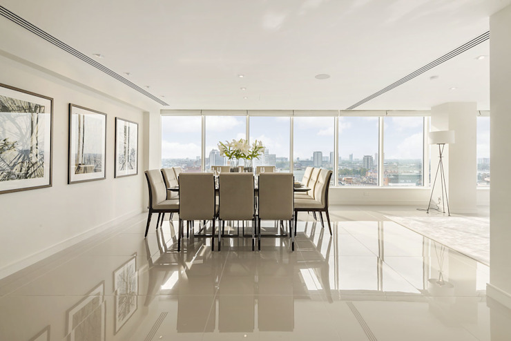 Large penthouse dining room with spectacular view over central London Modern dining room by Porcel-Thin Modern