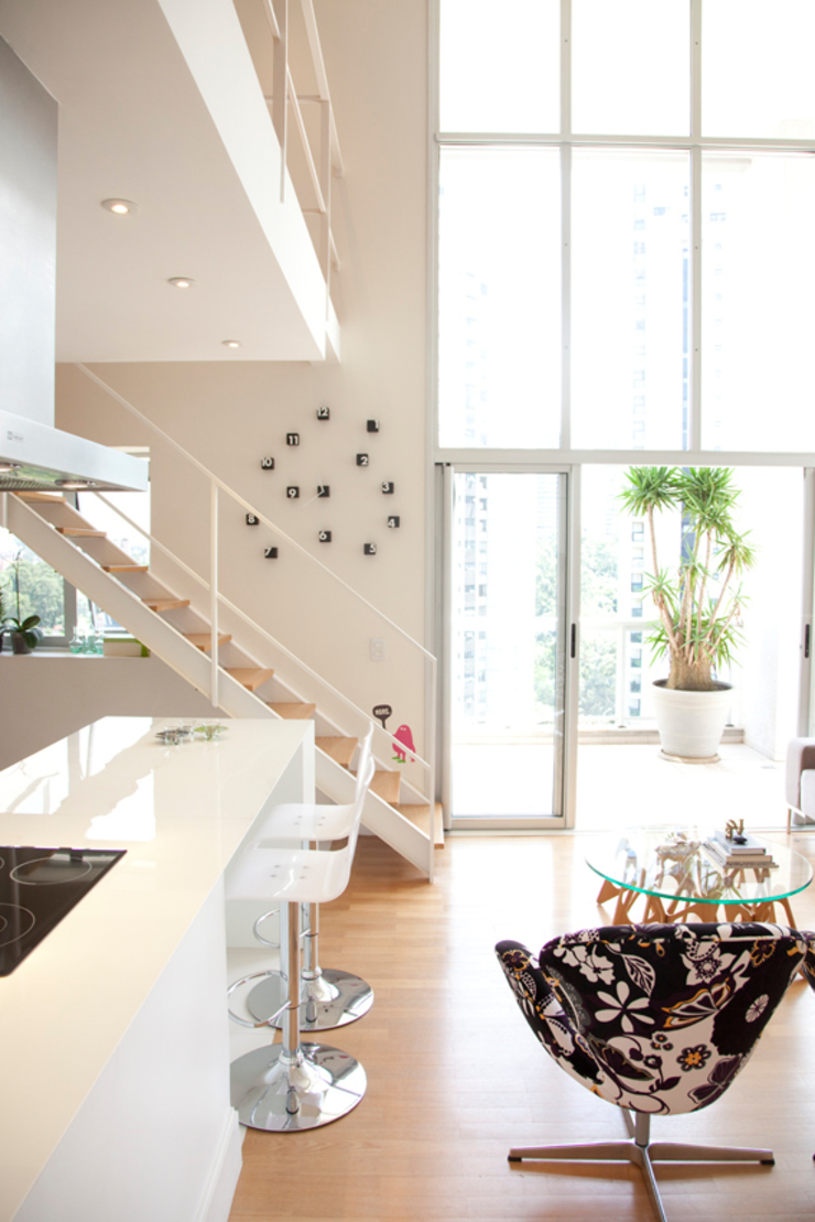 Apartamento Panamby Salas de estar minimalistas por Mariana Dias Arquitetura Minimalista