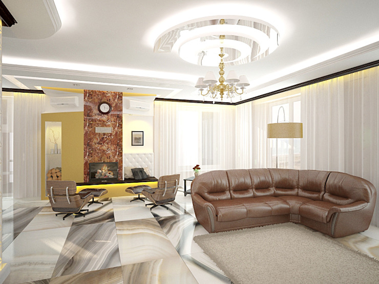Шик 2 Гостиные в эклектичном стиле от Дизайн студия Александра Скирды ВЕРСАЛЬПРОЕКТ Эклектичный