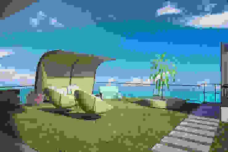 Villa Taşbaşı İskandinav Balkon, Veranda & Teras yücel partners İskandinav