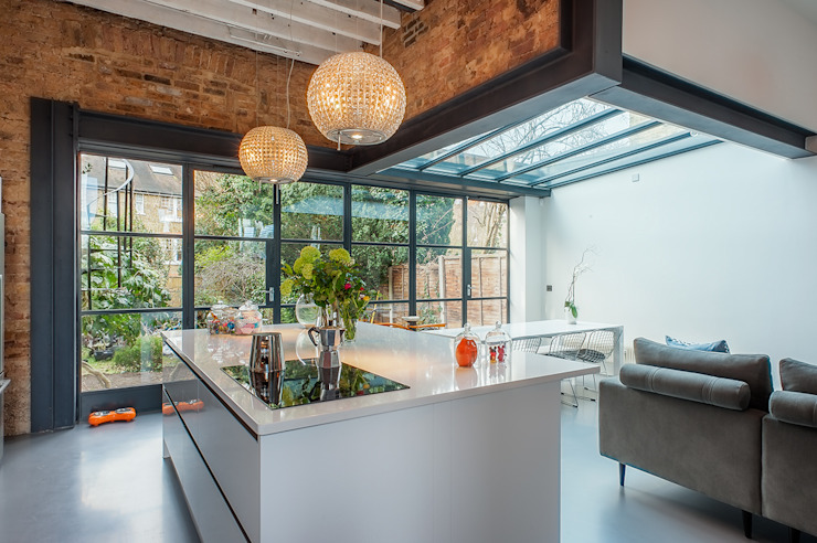 Full House Renovation with Crittall Extension, London HollandGreen Industrial style kitchen