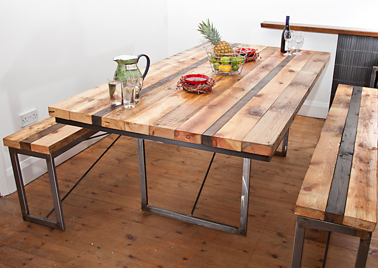 Saxon Dining Table: industrial  by swinging monkey designs, Industrial