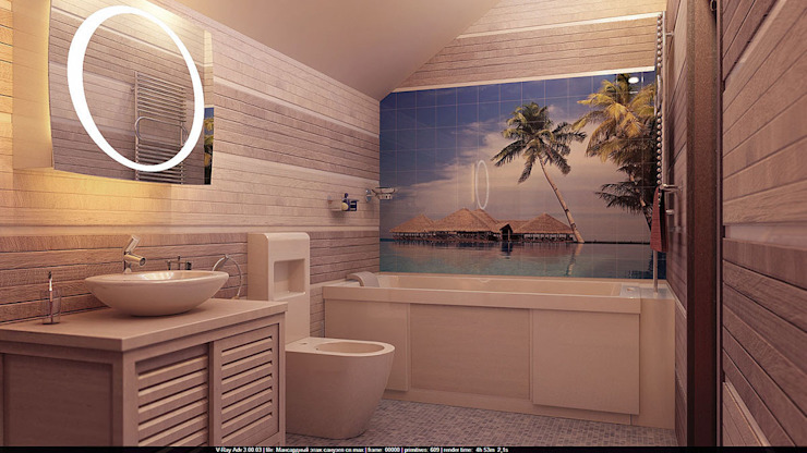 Санузел на мансарде Ванная комната в стиле минимализм от Architoria 3D Минимализм
