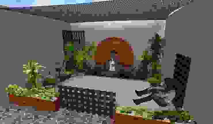 patio tropical con mallasombra Zen Ambient Jardines de estilo rústico