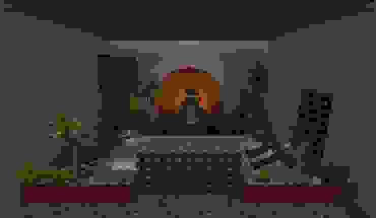 vista de noche Zen Ambient Jardines de estilo rústico