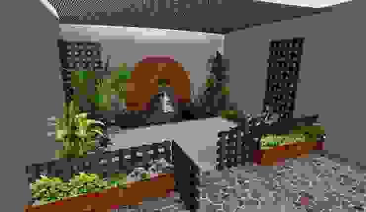 el mismo jardín - versión con cerca completa Zen Ambient Jardines de estilo rústico