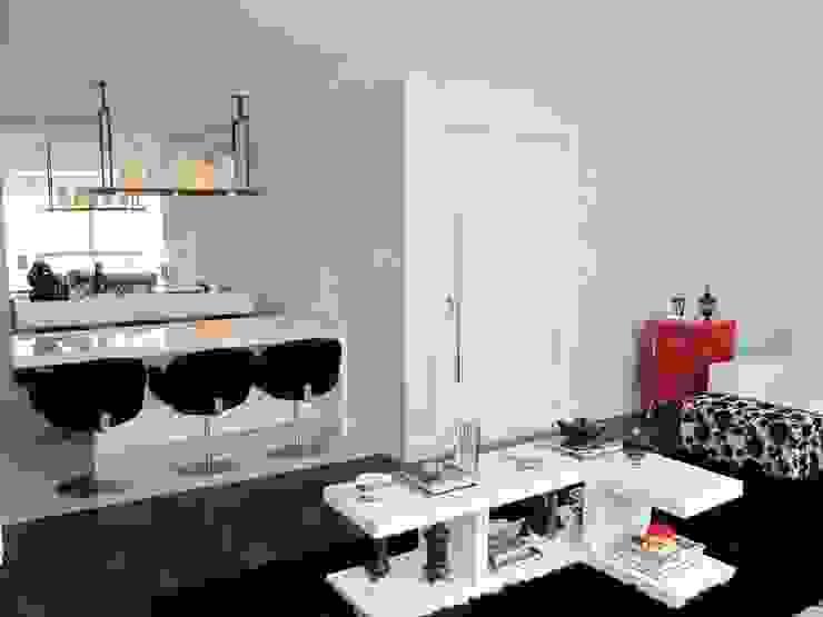 Integração estar e jantar Salas de estar modernas por Arquitetura Juliana Fabrizzi Moderno