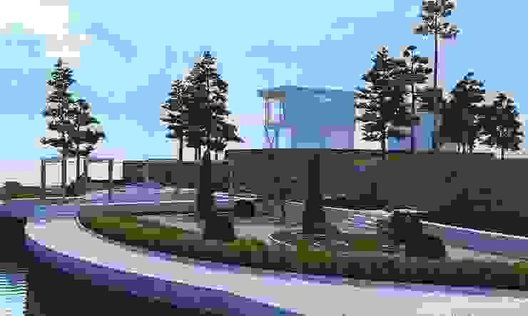 Ландшафт эскиз Дома в стиле минимализм от Architoria 3D Минимализм