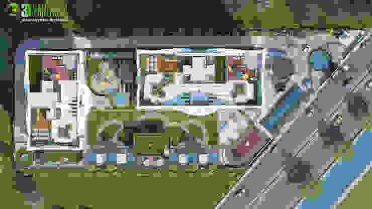 3D Commercial Site plan Exterior Rendering: classic  by Yantram Architectural Design Studio, Classic
