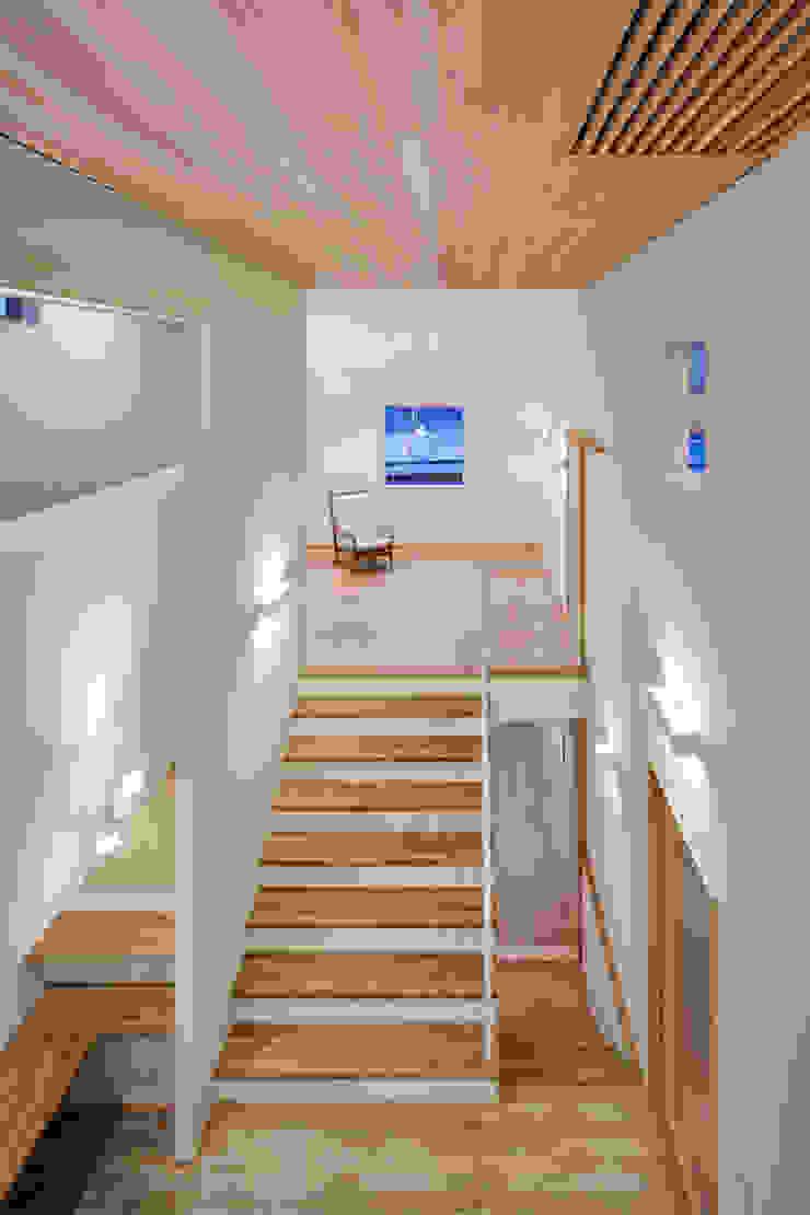 家族をつなぐスキップフロアの家-吹抜け空間(夜)- モダンスタイルの 玄関&廊下&階段 の 小田達郎建築設計室 モダン