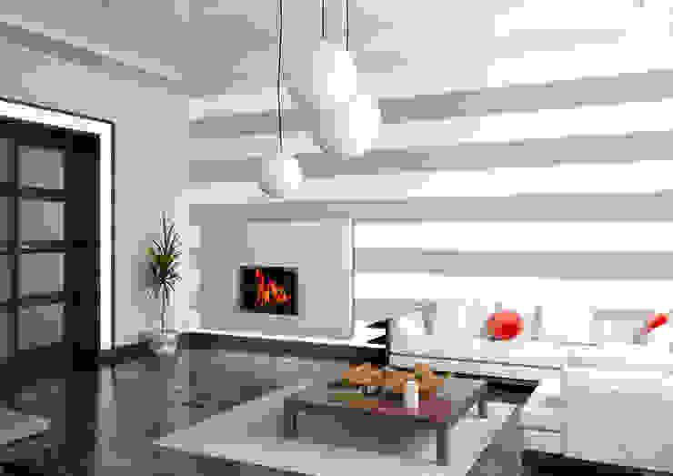 Tapeta w pasy poziome biało-szara Nowoczesne ściany i podłogi od Dekoori Nowoczesny