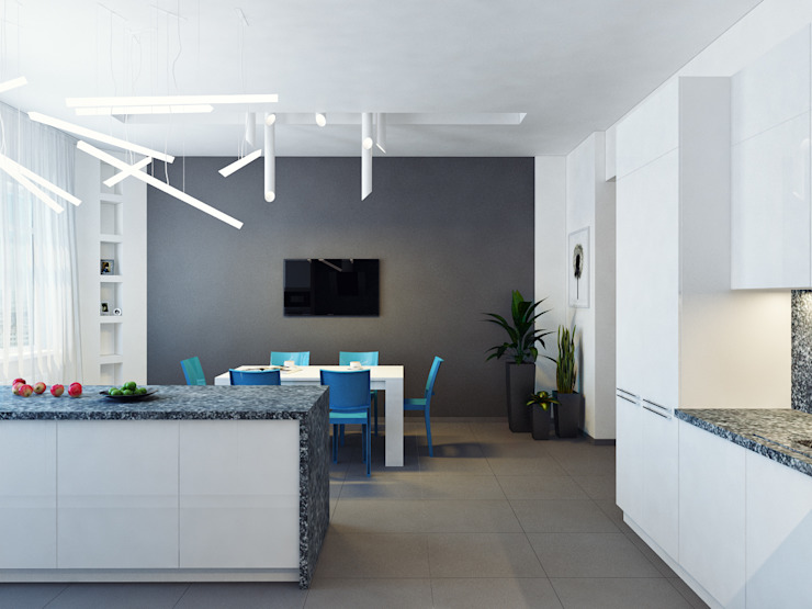 Столовая комната 1й этаж Столовая комната в стиле минимализм от Оксана Мухина Минимализм